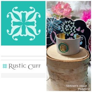 Rustic cuff bracelet quilted leather teal w box